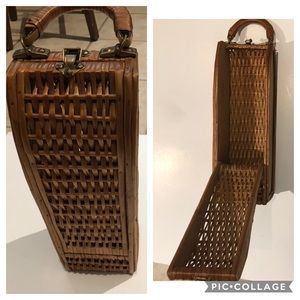 Vintage Wicker Wine Basket w/Brass Connectors
